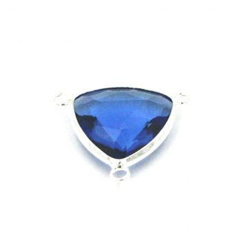 19.5*19.5mm Blue colour triangle crystal connector - with 3 rings